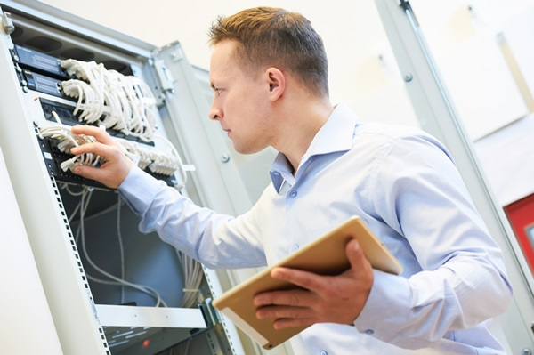 Networking service. network engineer administrator checking serv